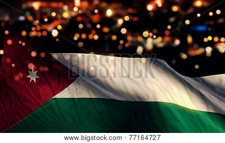 Jordan National Flag Light Night Bokeh Abstract Background