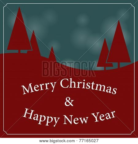 Christmas And New Year Landscape With Trees