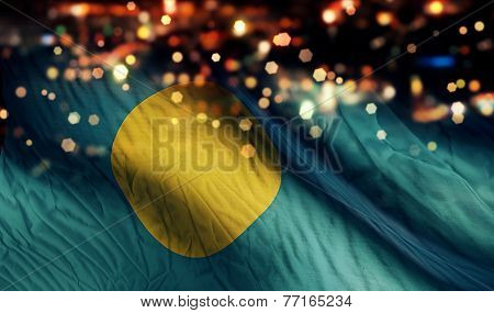 Palau National Flag Light Night Bokeh Abstract Background