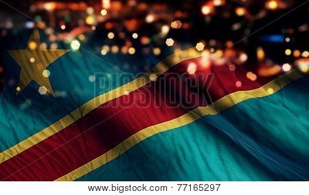 Democratic Republic Of The Congo National Flag Light Night Bokeh Abstract Background