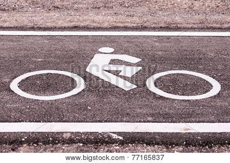 Vintage Bicycle Sign On Road, Bicycle Path