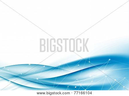 Modern Blue Tech Net Swoosh Wave Abstraction