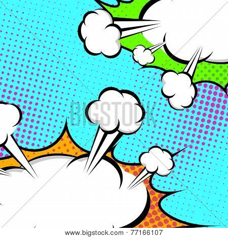 Pop-art Speech Clouds Abstract Retro Style Banner
