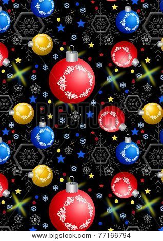 Christmas balls, snowflakes and stars on a black background