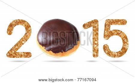 2015 Numeric From Natural Sugar And Donut Topped By Chocolate Iced