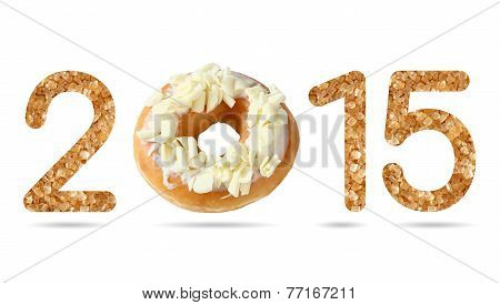 2015 Numeric From Natural Sugar And Donut Topped By Shredded White Chocolate