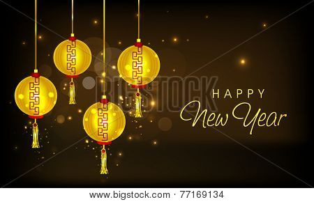 Golden Chinese lamps hanging on shiny brown background for Happy New Year celebrations.