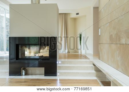 Fireplace In Luxury Mansion