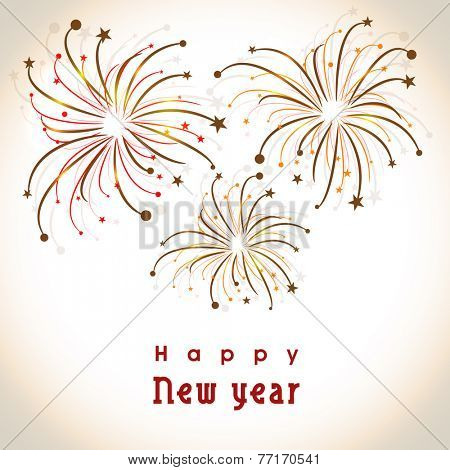 Happy New Year 2015 celebration flyer, poster, banner or invitation with fireworks on shiny background.
