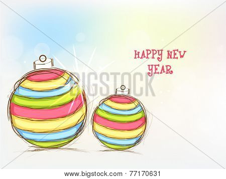 Happy New Year 2015 celebration greeting card design with colorful X-mas Balls on shiny background.