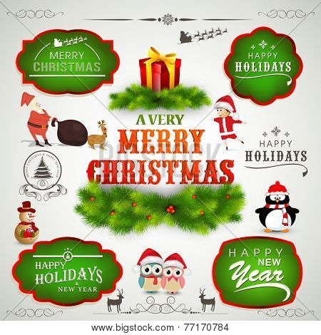 Colorful label, sticker, tag or beautiful typographic collection for Merry Christmas and Happy New Year celebration.