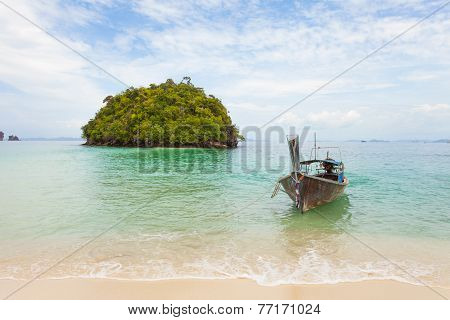Traditional long tail boat on a Thai island