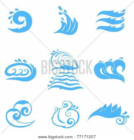 Wave symbols set for design isolated on white background
