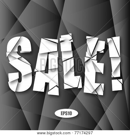 Sale Cut Paper Poster on dark gray background