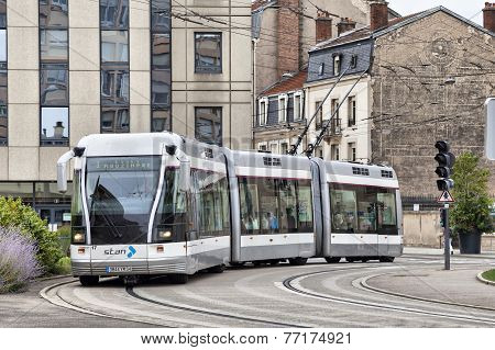 Electric Trolley-tram On The Street Of The Nancy