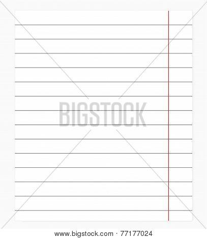 Exercise book in a ruler. Vector illustration