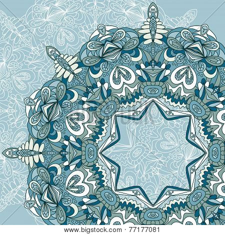 Circle Lace Hand-drawn Ornament Card. Ornamental Round Pattern