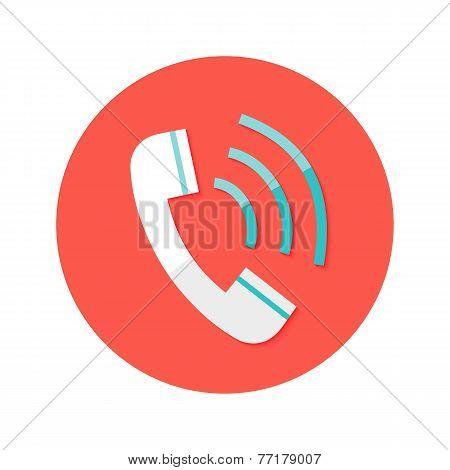 Call Headphone Circle Flat Icon