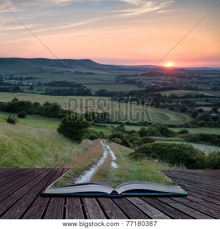 Landscape Image Summer Sunset View Over English Countryside Conceptual Book Image
