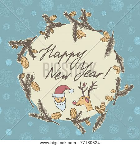 Fir Cones Greeting Card. Congratulations With New Year And Christmas.