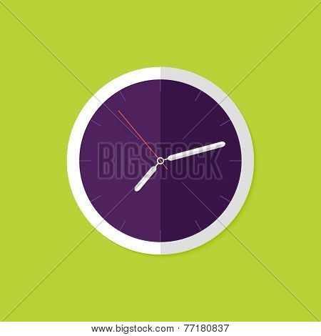 Watch Flat Icon Over Green