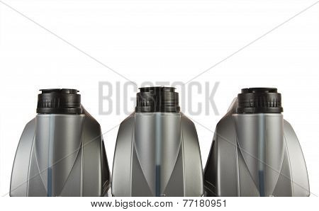 Group of lubricants bottles in white background.