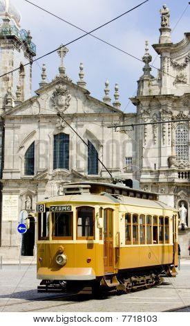 tram in front of Carmo Church (Igreja do Carmo) Porto Douro Province Portugal