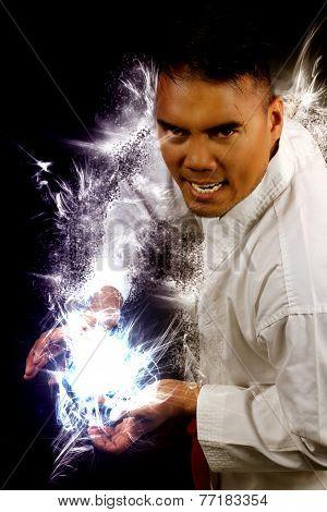 man in a kimono making a fireball
