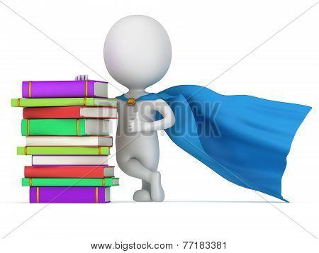 Brave Superhero Teacher With Blue Cloak