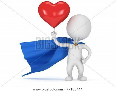Brave Superhero Lover With Big Red Heart