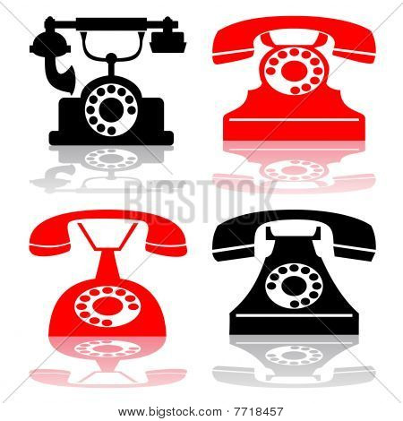 Vector antique telephone collection