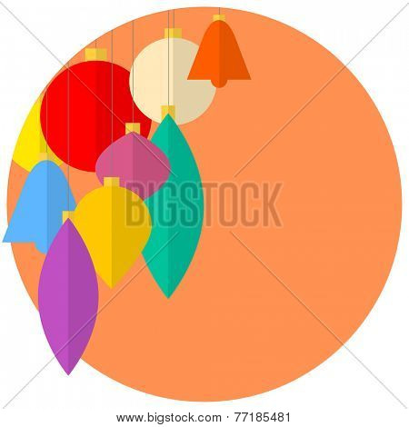 Flat design Abstract Vector christmas decorations - christmas card