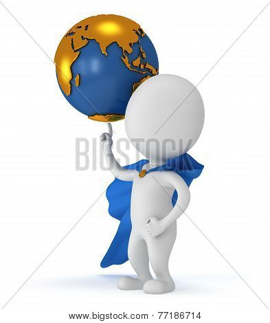 Brave Super Businessman And Earth