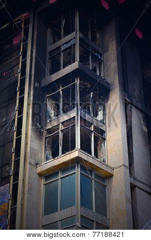 KIEV, UKRAINE -MAR 24, 2014.Downtown of Kiev,vandalised during Revolution of Dignity.March 24, 2014 Kiev, Ukraine
