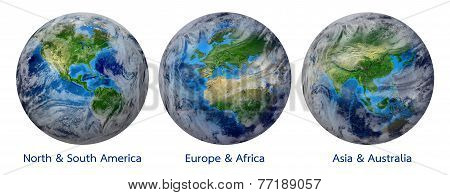 3 Global World, Blue Planet Earth showing America, Europe, Africa, Asia, Australia continent