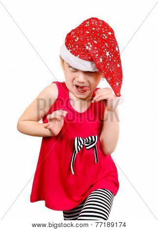 Little Girl In Santa Hat