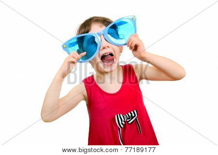 Little Girl In Big Blue Glasses
