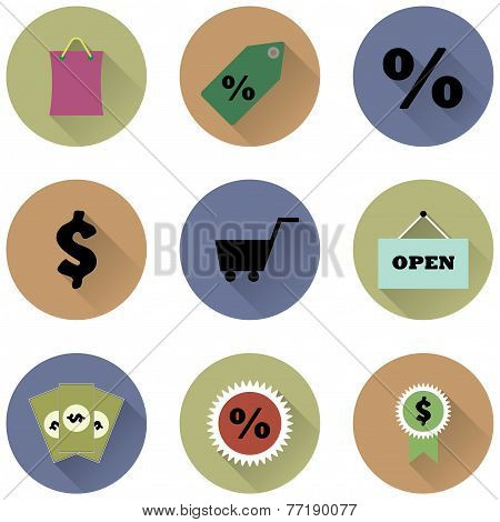 set of round icons for a shop