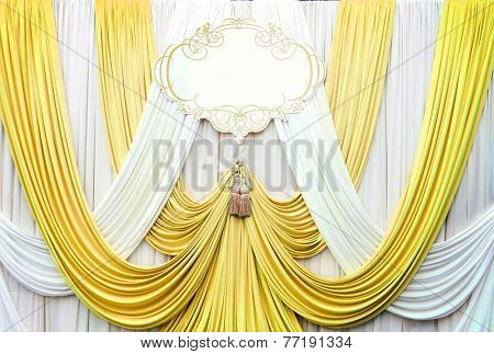 White And Gold Curtain Backdrop Background