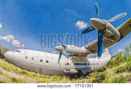 Old Russian Aircraft An-12 At An Abandoned Aerodrome
