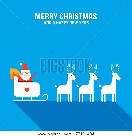 Cute Santa Claus With Presents, Sledge And Deers