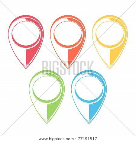 Set Of Map Pointers. Gps Icons. Monochromatic Line Art. Retro Design. Vector Illustration.