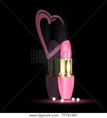 Heart And Pink Lipstick