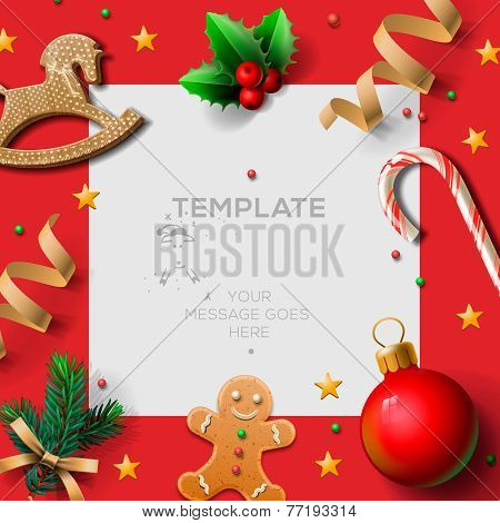 Merry Christmas festive template with gingerbread men and Christmas decoration