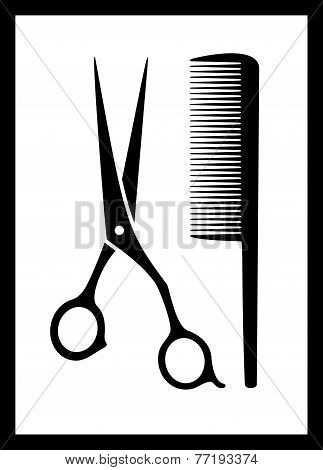Scissors And Comb On Black Frame