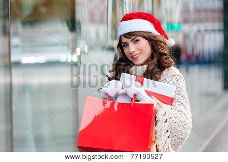 Happy girl at shopping
