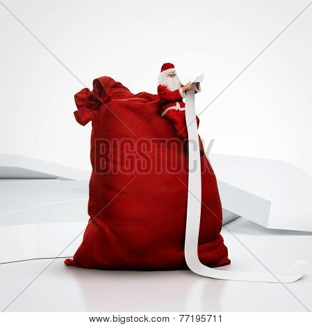 Santa Sitting On Huge Sack And Reading Long List