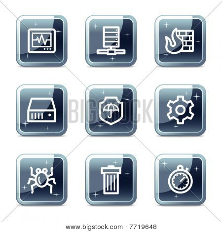 Internet security web icons, mineral square glossy buttons