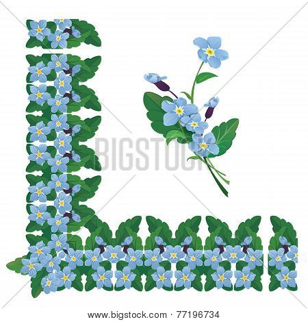 Forget Me Not Floral Corner And Line Frame Elements Isolated On White Background. Spring Or Summer S