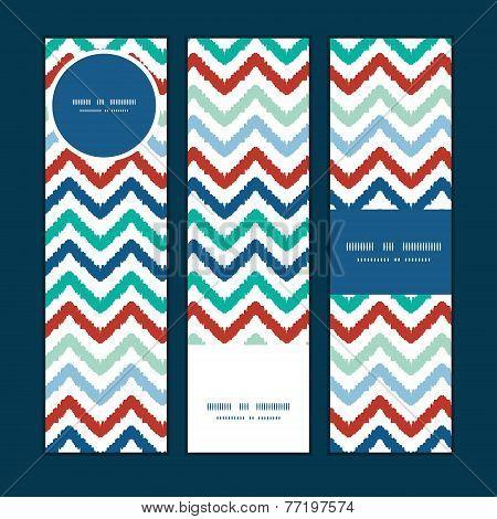 Vector colorful ikat chevron vertical banners set pattern background